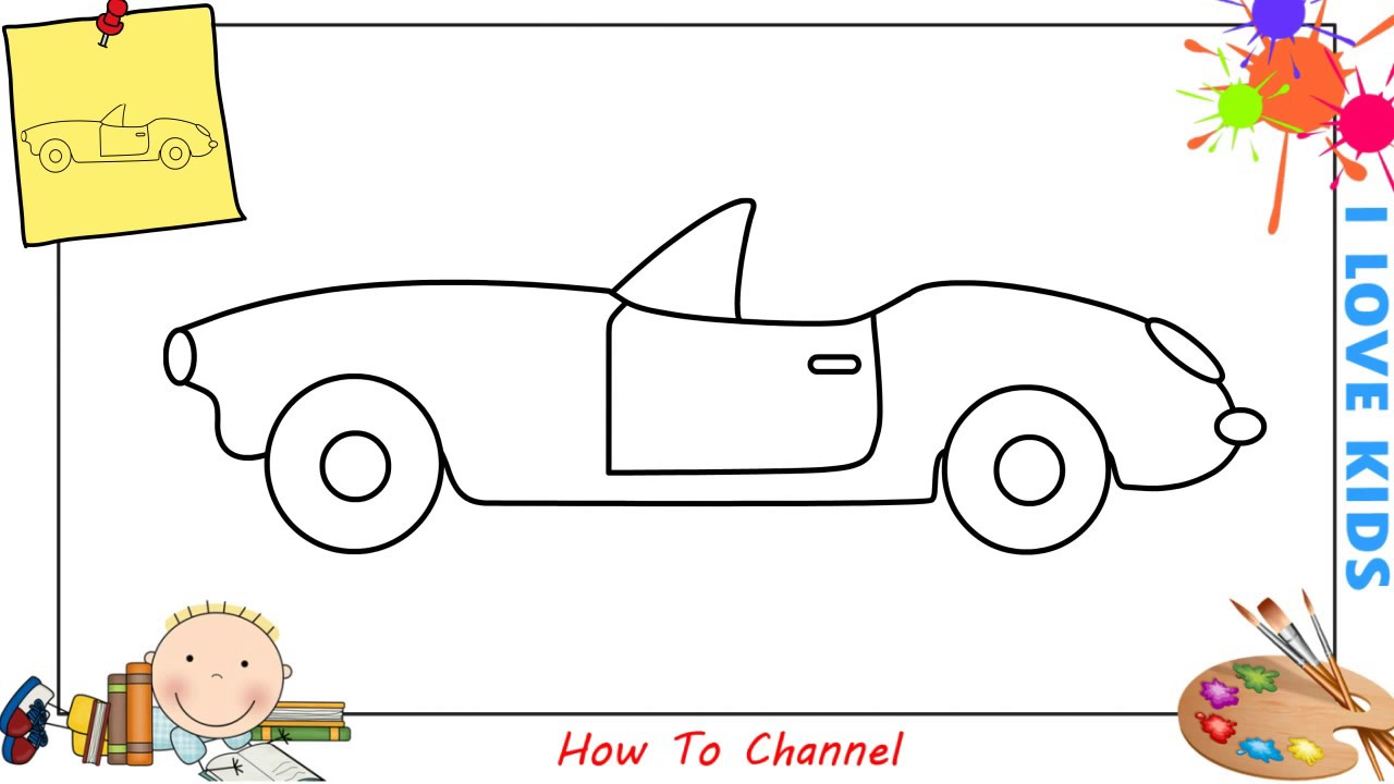 How To Draw A Car Easy Slowly Step By Step For Kids Beginners