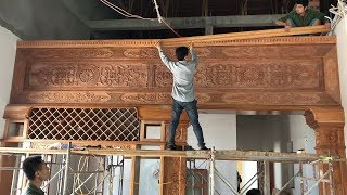 Install & Finishing Partition Wall Kitchen Room With Extremely Wonderful Carved Wood Details