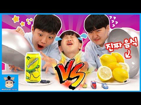 real fruits vs drink random box challenge kids family fun play | MariAndFriends