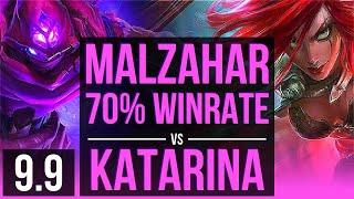 MALZAHAR vs KATARINA (MID) | 70% winrate, KDA 5/0/4 | NA Grandmaster | v9.9