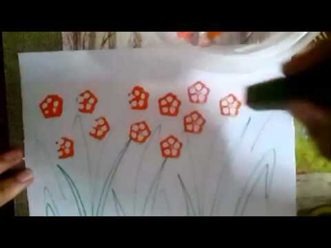 Vegetable Printing To Paint Flowers   How To Paint Flowers By Lady Finger