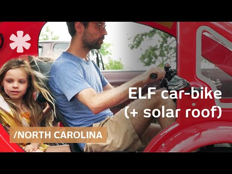 ELF solar car-bike for driver + 2 kids, equals 1800mpg