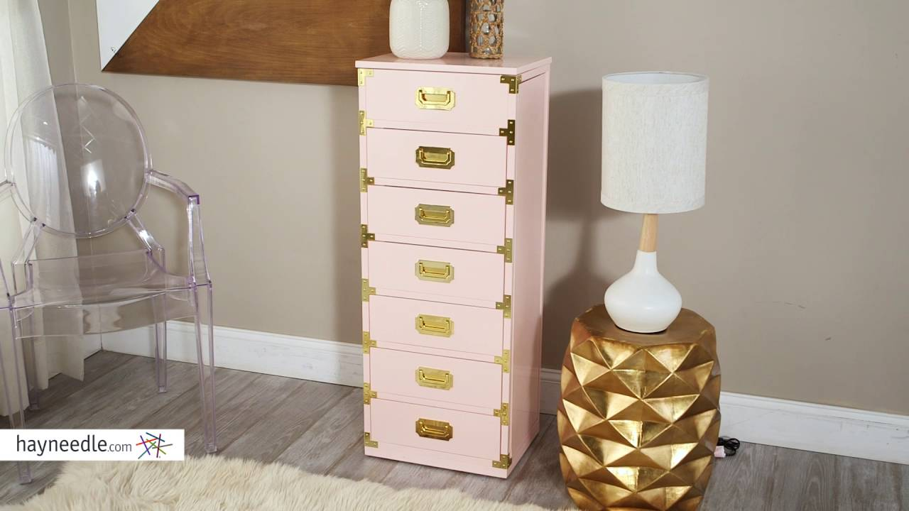 Belham Living Campaign Trunk Jewelry Armoire High Gloss Blush