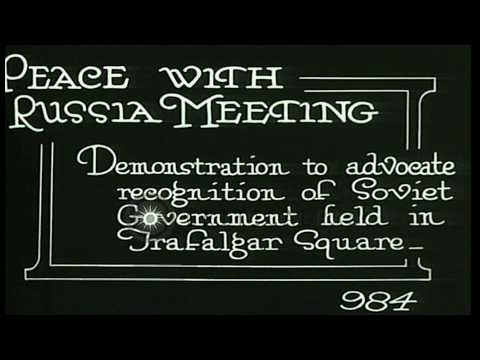 British Communists campaign at Trafalgar Square for recognition of Soviet Russia HD Stock Footage
