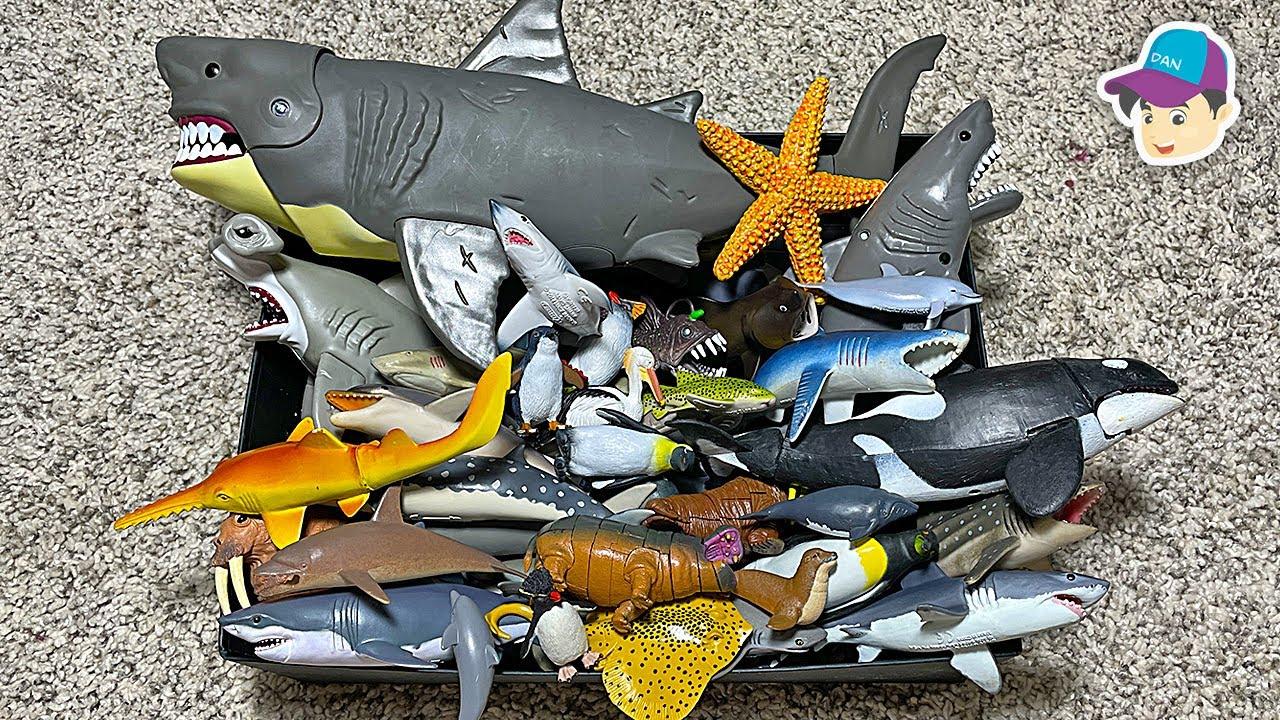 BIG BOX OF SEA ANIMAL TOYS - Shark Whale Dolphin Penguin Stingray Orca