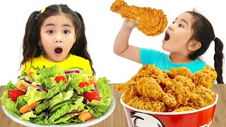 Suri and Annie Pretend Play eat Healthy Food for Kids | Funny Kids Video