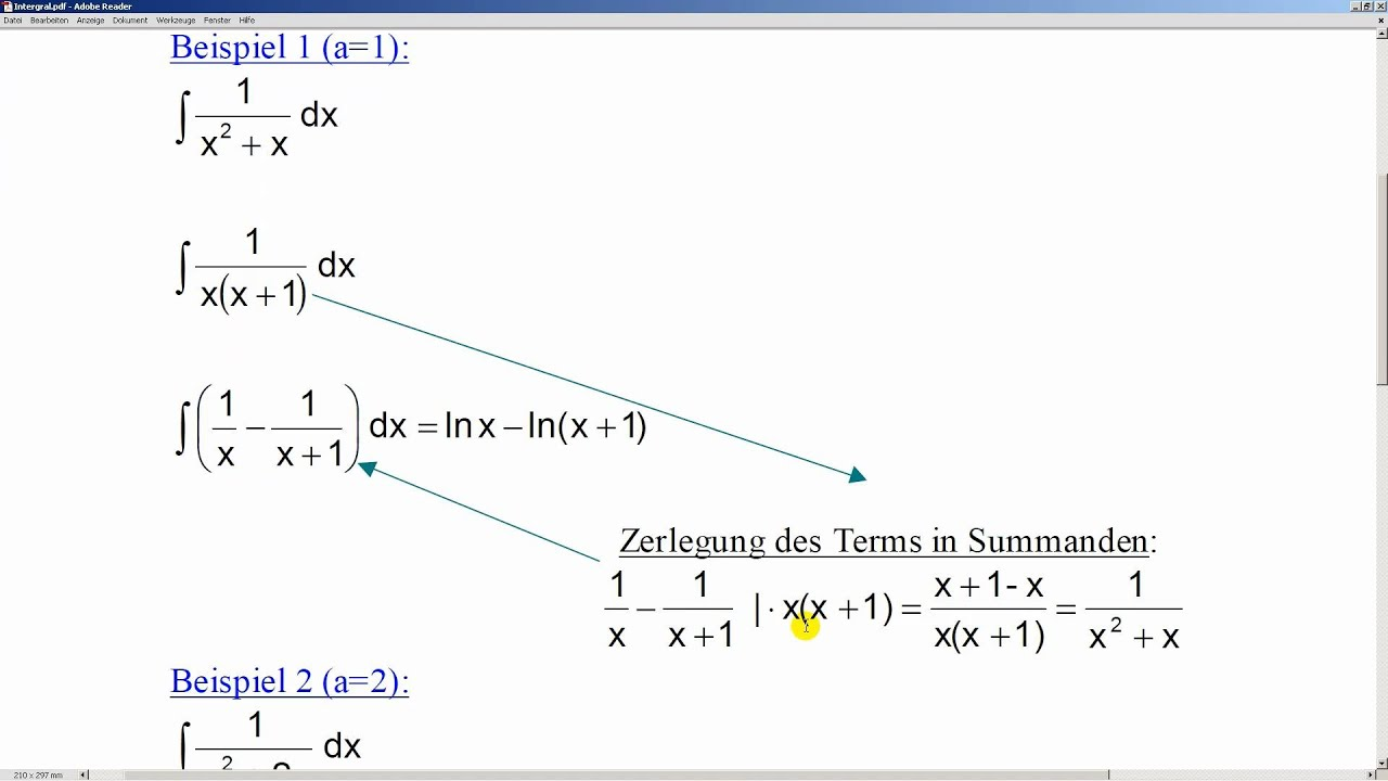 Integral 1/(x²+ax) 1/(x²+2x) 1/(x²+x) Stammfunktion - YouTube