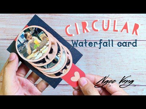 Làm thiệp waterfall tròn/ Circular waterfall card - NGOC VANG