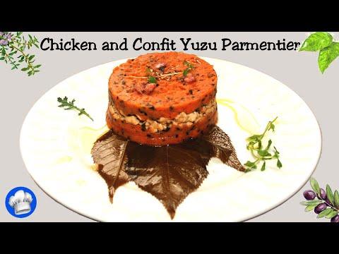 Chicken and Confit Yuzu Parmentier with Sakura Cherry Blossom