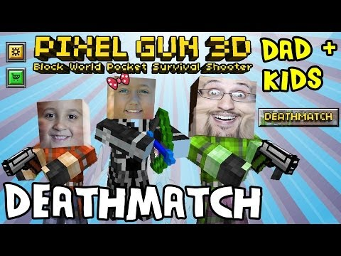 Dad & Kids play Pixel Gun 3D: DEATHMATCH (pt. 2) (iOS Multiplayer Face Cam)