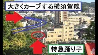 大船観音から見た東海道本線上り特急踊り子185系の走行と大船駅から大きくカーブした横須賀線の線路軌道