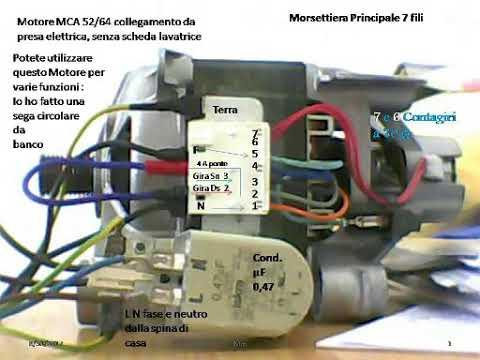 Schema Elettrico Lavatrice : Motore lavatrice mca 52 64 da presa elettrica 7 fili youtube