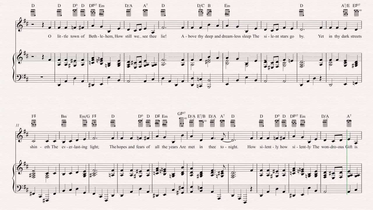 Ukulele O Little Town Of Bethlehem Christmas Carol Sheet Music