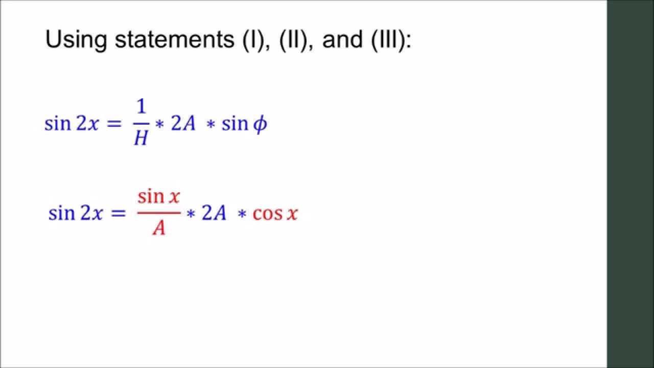 Why sin 2x = 2 sin x cos x - YouTube