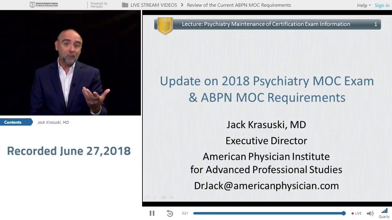 Review of the Current ABPN MOC Requirements for Psychiatrists - Facebook  Live 6/27/18