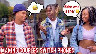 Making Couples Switch Phones Loyalty Test Pt. 2 💔 Public Interview