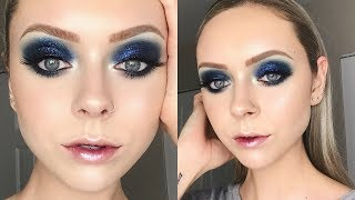 SMOKEY BLUE GLITTER EYESHADOW TUTORIAL