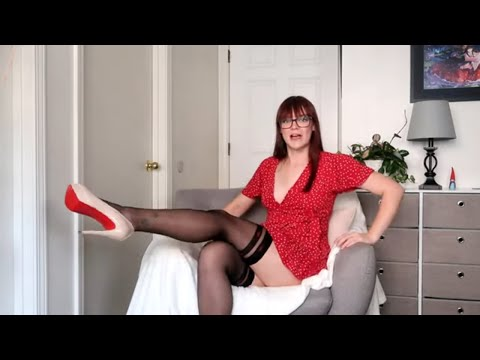Fiore thigh high STOCKINGS + GARTER BELT try on