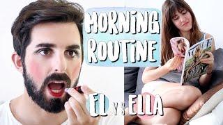 Rutina de mañana ÉL vs. ELLA | Morning Routine Guys vs. Girls