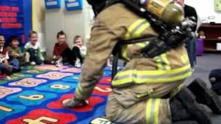 Firefighter teaches at Preschool, so kids are not afraid