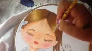 Pintura em tecido – Menina Rosa – com Cony Rico – Parte 2