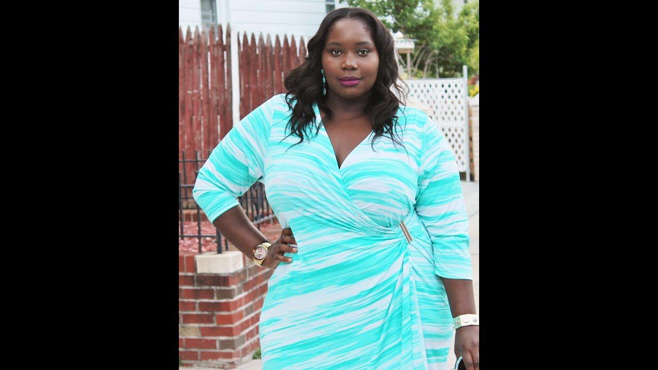 OOTD: Calvin Klein Plus Size Wrap Dress - YouTube