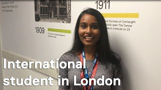 First-year phd student, nithya paranthaman, shares her thoughts on studying at the icr for and how she has found london since moving here from americ...