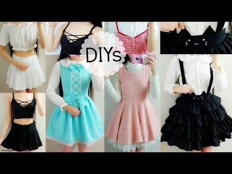 7430c19b2 5 Cute DIY Clothes: Cat Suspender Skirt,ladylike/DollLike Dress,Off  Shoulder Blouse,Lace up Top - YouTube
