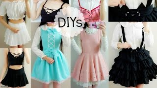 5 Cute DIY Clothes: Cat Suspender Skirt,ladylike/DollLike Dress,Off Shoulder Blouse,Lace up Top