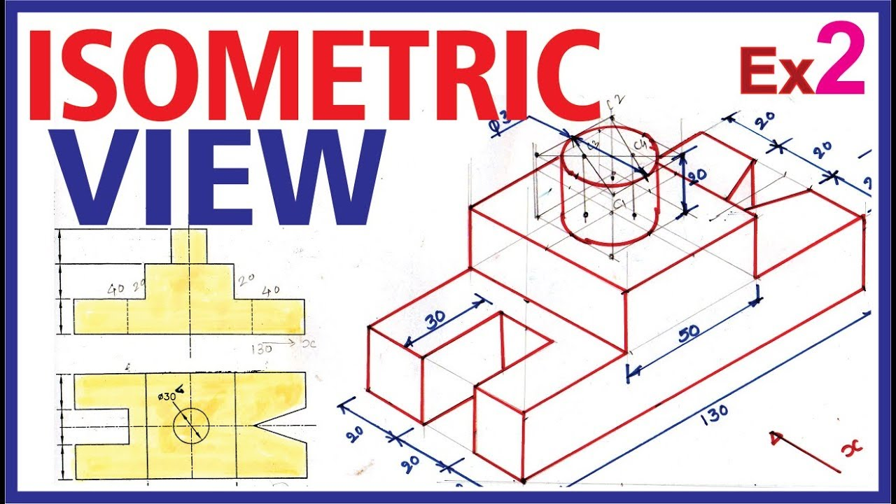 (Hindi) Isometric Projection Example 2 #Engineering Drawing - YouTube