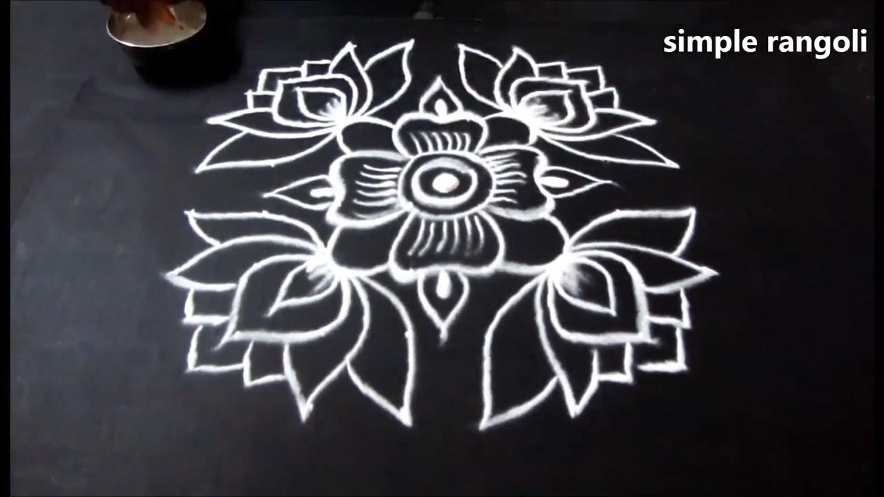 Lotus Rangoli Art Designs With Dots 8 To 4 Lotus Flower