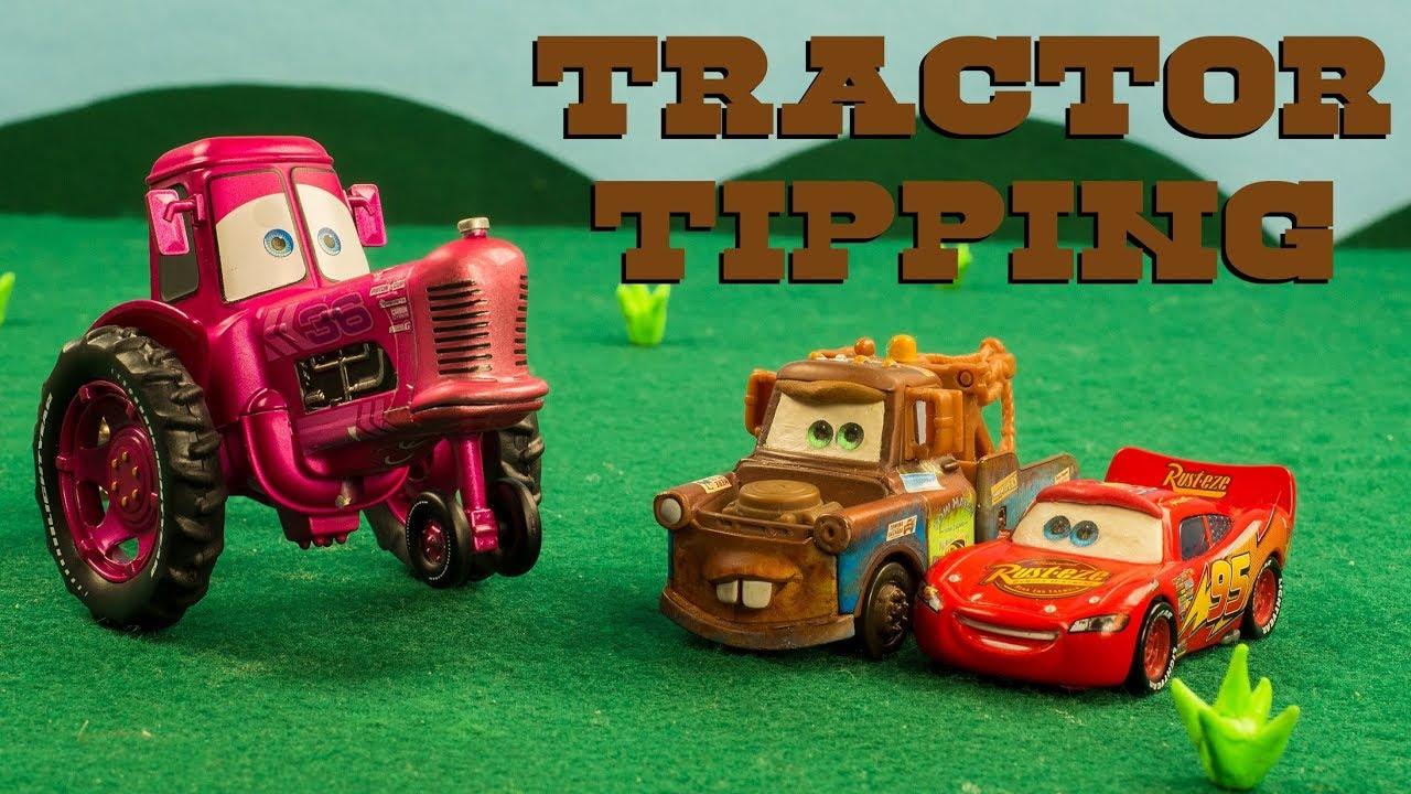 Mater & Lightning McQueen GO Tractor Tipping Disney Pixar Cars