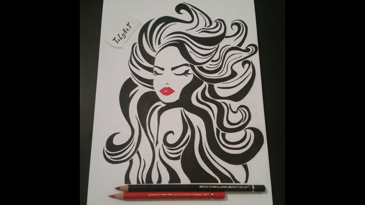 Drawing A Woman With Red Lips Black Hair For The First Time