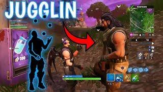 FORTNITE DEFAULT SKIN REACTION TO *NEW* JUGGLIN EMOTE!!!