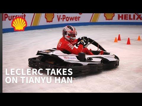 Charles Leclerc Races An Ice Kart In Shanghai