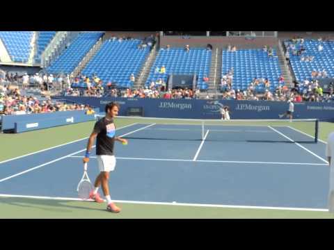 Roger Federer service practice