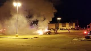Early morning vehicle fire at Lacombe CO-OP.