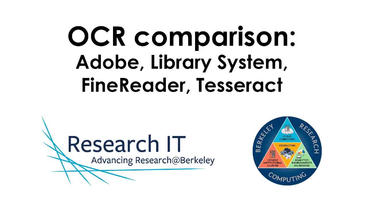 OCR desktop | Research IT