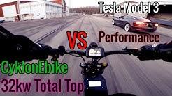Maailman nopein sähköpyörä vs Tesla Model 3 Performance