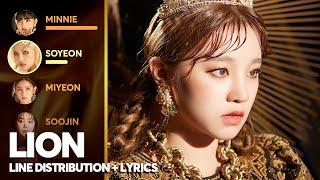 (G)I-DLE - LION (Line Distribution + Color Coded Lyrics) (여자)아이들