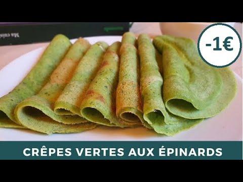 recette-de-crêpes-salées-verte-aux-Épinards-|-sauce-menthe-ciboulette-|-recette-facile-et-originale