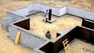 Building a house step by step. Full HD. Day 12 Insulation of foundations.