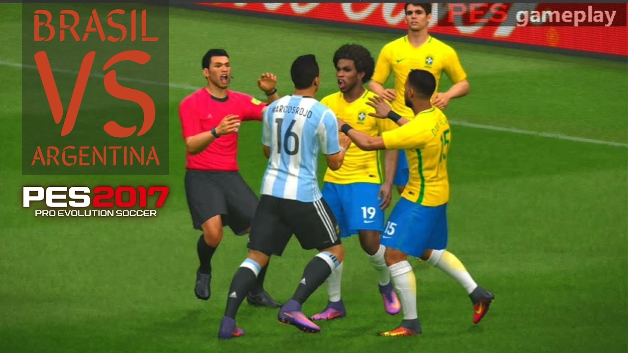 Brasil vs Argentina - PES 2017 Gameplay - YouTube