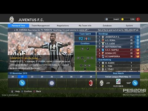 PES 2016 Master League- My Club - New Menu And Features