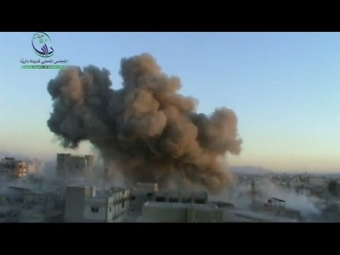 Syria rocket attack: moment of impact