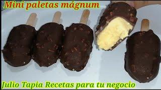 Mini paletas mágnum cremosas con cobertura crocante de chocolate