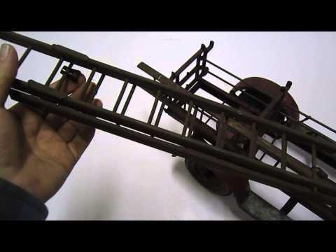 RARE Antique 1920's/1930's Vintage Kingsbury Pressed Steel Toy Fire Ladder Truck