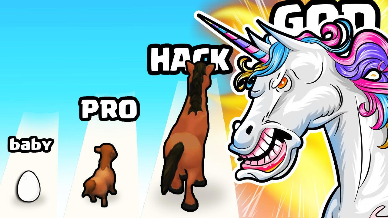 EVOLVING a BABY PONY to MAX LEVEL UNICORN HORSE in Evolution Run