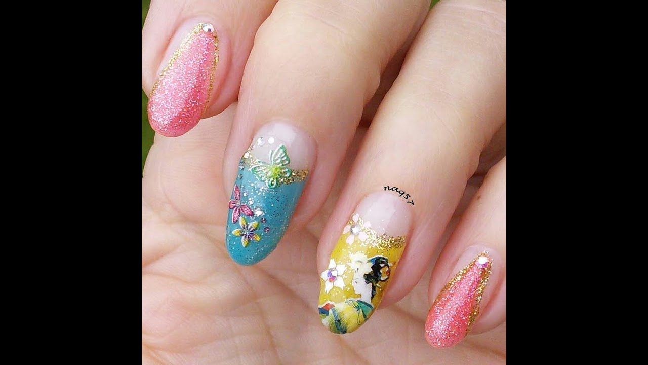 Geisha/Japanese style nail art design - YouTube
