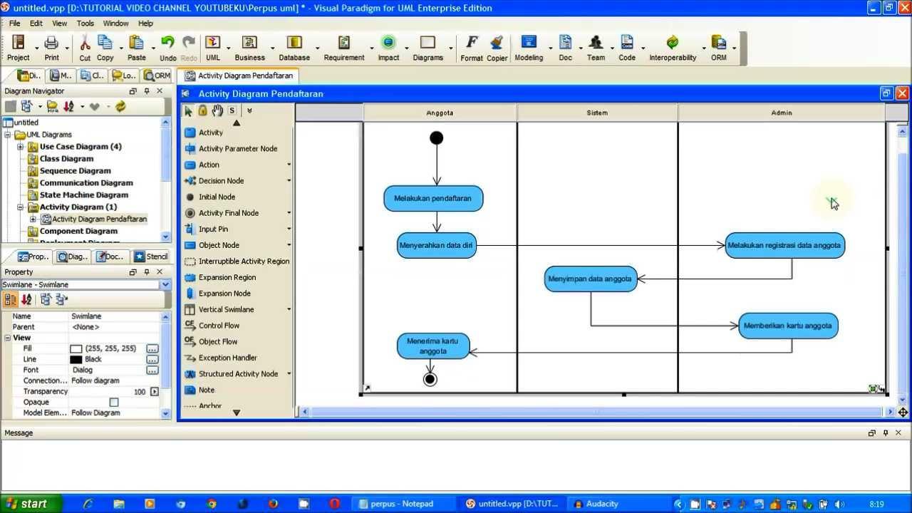 Tutorial Uml - Activity Diagram Pendaftaran  Perpus  Part 1